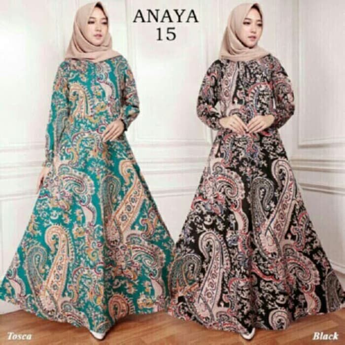 Gamis-Batik-Wanita-Terbaru-2019-Annaya-Hijau-Coklat.jpg