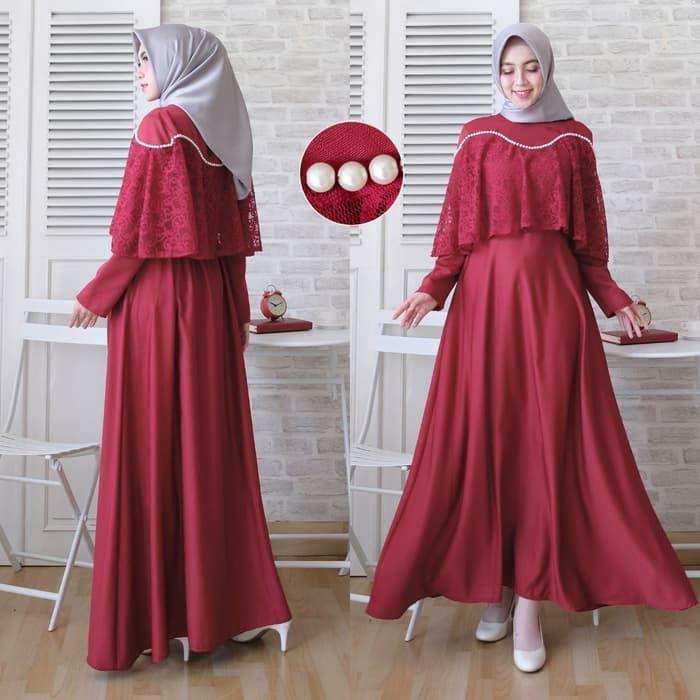 baju-gamis-kondangan-simple-brokat-marian-Marun.jpg