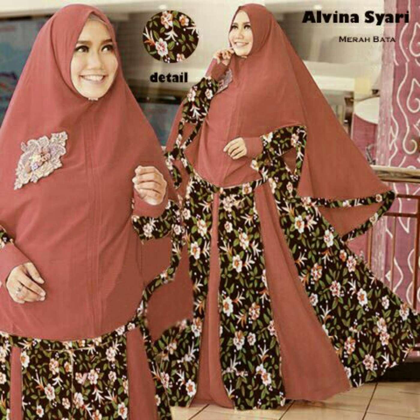 Model-Baju-Setelan-Gamis-Syari-Modern-Terbaru-Motif-Bunga-Warna-Bata.jpg
