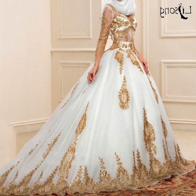 Bentuk Gaun Pengantin Muslim Putih Xtd6 Us $157 52 Off Modis Emas Appliuqes Putih Tulle Bengkak Muslim Gaun Pengantin Gaun Bola Kustom Terbuat Lengan Panjang Muslim Pengantin formal Gaun