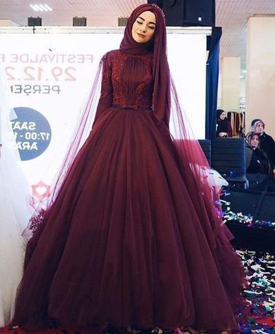 Bentuk Gaun Pengantin Muslimah Warna Merah Marun Ffdn Selain Putih 6 Gaun Pernikahan Muslim Berwarna Ini Juga