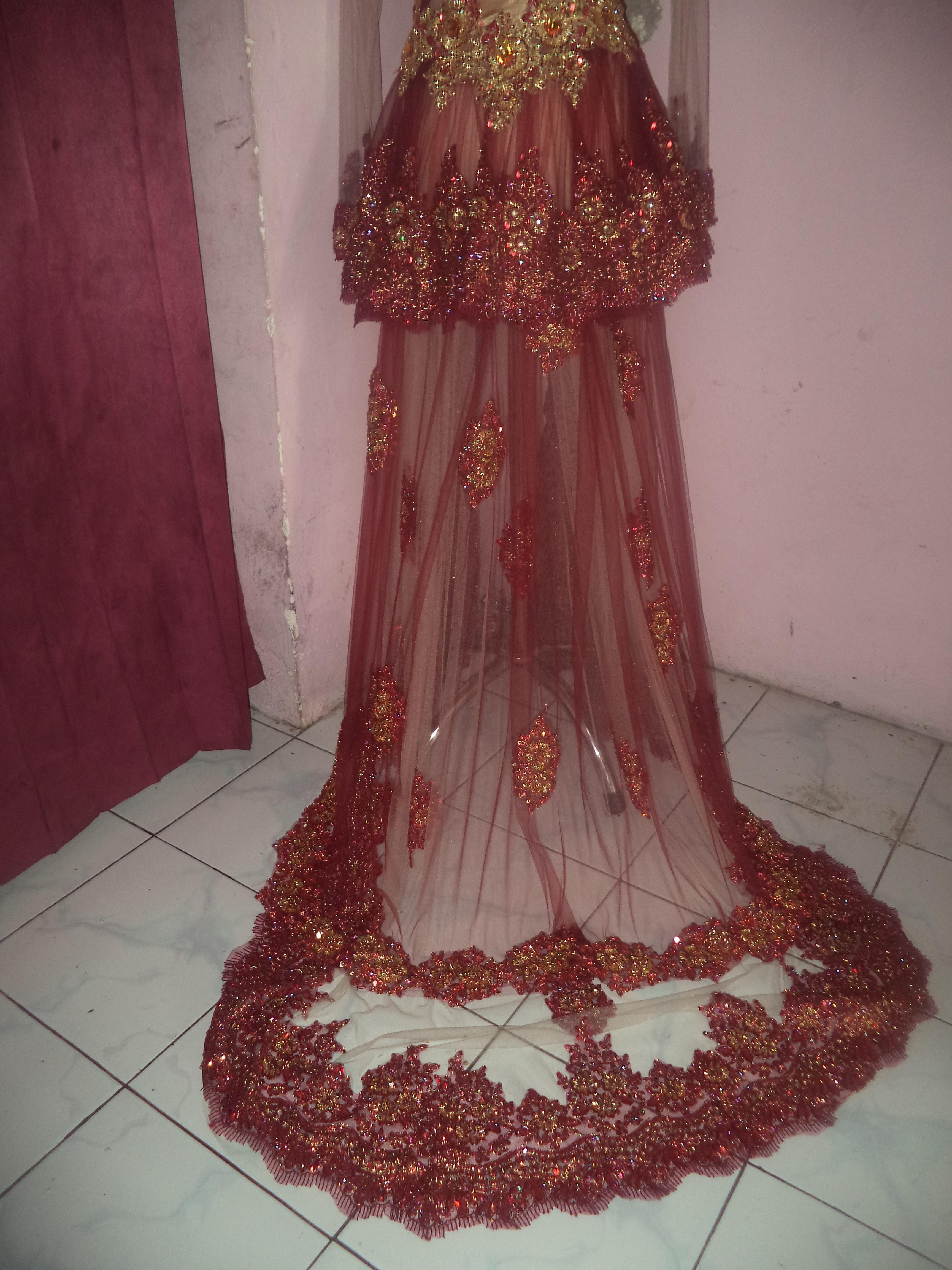 Bentuk Gaun Pengantin Muslimah Warna Merah Marun H9d9 Kebaya Pengantin Muslim Ekor Ganda Warna Merah Maroon