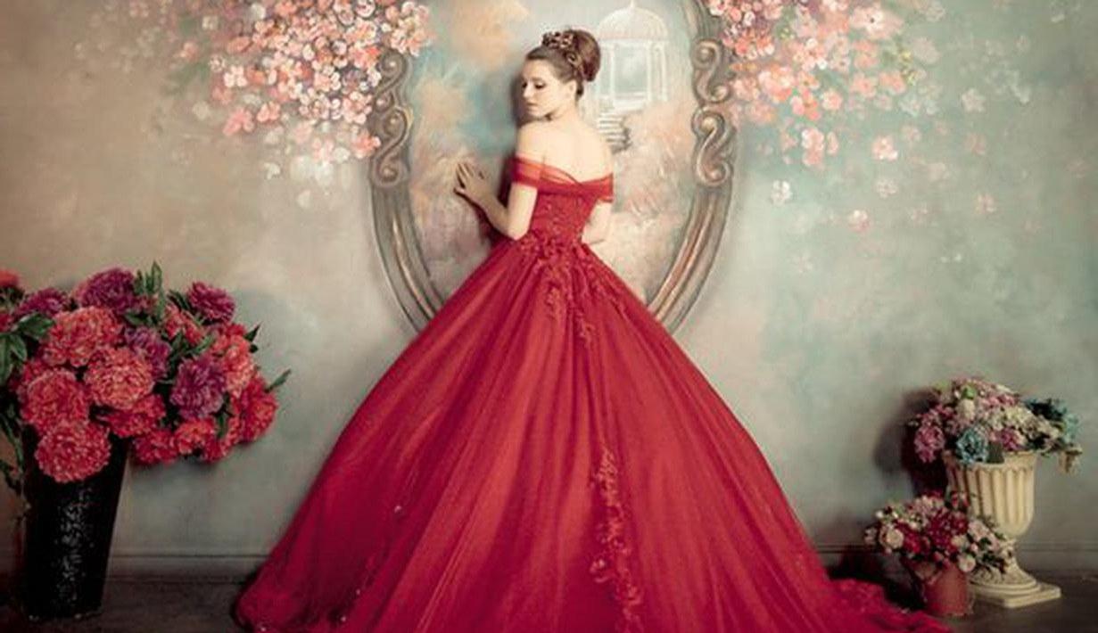 Bentuk Gaun Pengantin Muslimah Warna Merah Marun Mndw 10 Foto Mewah & Megah Gaun Pengantin Nuansa Merah Fimela