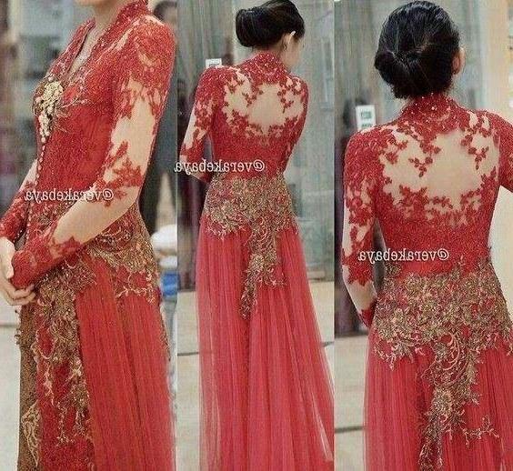Bentuk Gaun Pengantin Muslimah Warna Merah Marun Tldn Warna Payet Yang Cocok Untuk Kebaya Merah • Model Kebaya Modern