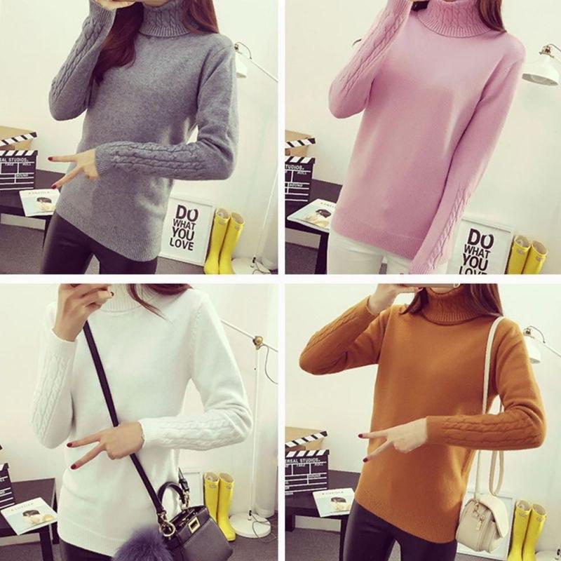 Contoh Gaun Pengantin Muslimah Warna Putih Dddy Sweater Rajut Wanita Turtleneck Lengan Panjang Untuk Gugur Dan Dingin
