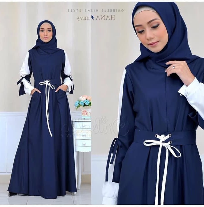 Design Baju Muslim Pengantin Modern Etdg Jual Baju Muslim Wanita Modern Od Maxy Refy Hana Navy Dki Jakarta Razqastore
