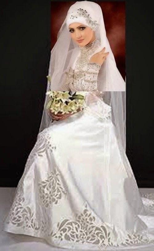 Design Gaun Pasangan Pengantin Muslim Tqd3 Gambar Baju Pengantin Muslim Modern Putih & Elegan