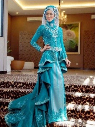Design Gaun Pengantin Muslimah Biru 3id6 Desain Rancangan Pakaian Kebaya Muslim Pengantin Wanita