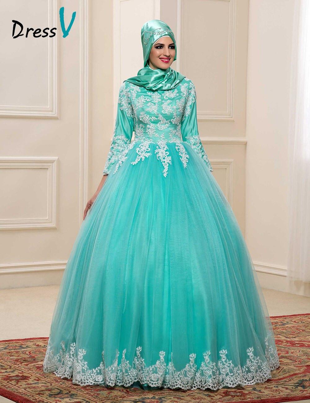 Gaun Pengantin Muslimah Modern Warna Gold Luxury islamic Hijab Wedding Dresses – Fashion Dresses