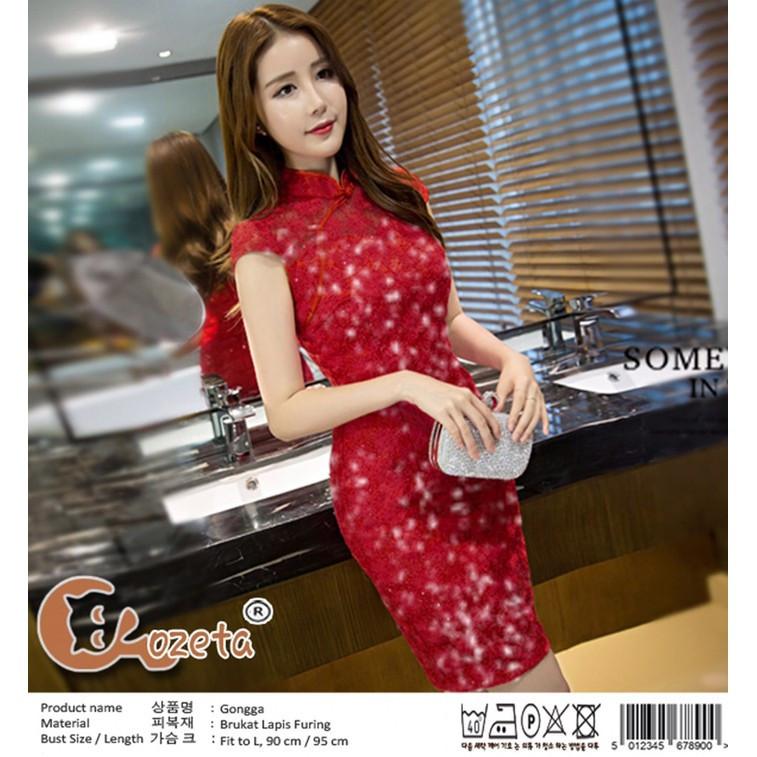 Gaun Pengantin Muslimah Modern Warna Pink Luxury Go Dress Brukat Model Cheongsam Gongga