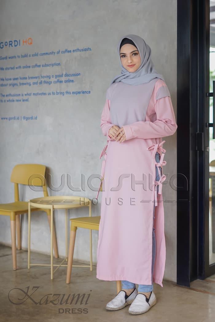 Gaun Pengantin Muslimah Modern Warna Pink Luxury Jual Gamis Modern Warna Pink Tangan Panjang Aulia Shifa House Model Kazumi Kota Bandung Heezastore