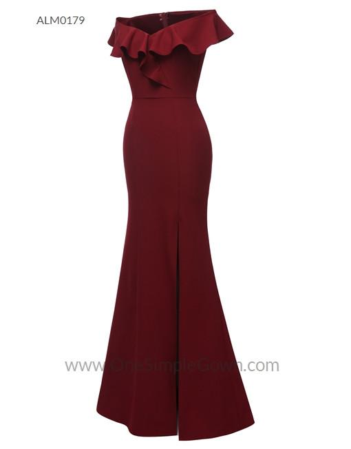 Gaun Pengantin Muslimah Simple Luxury 3 Colors F Shoulder Draping evening Dress