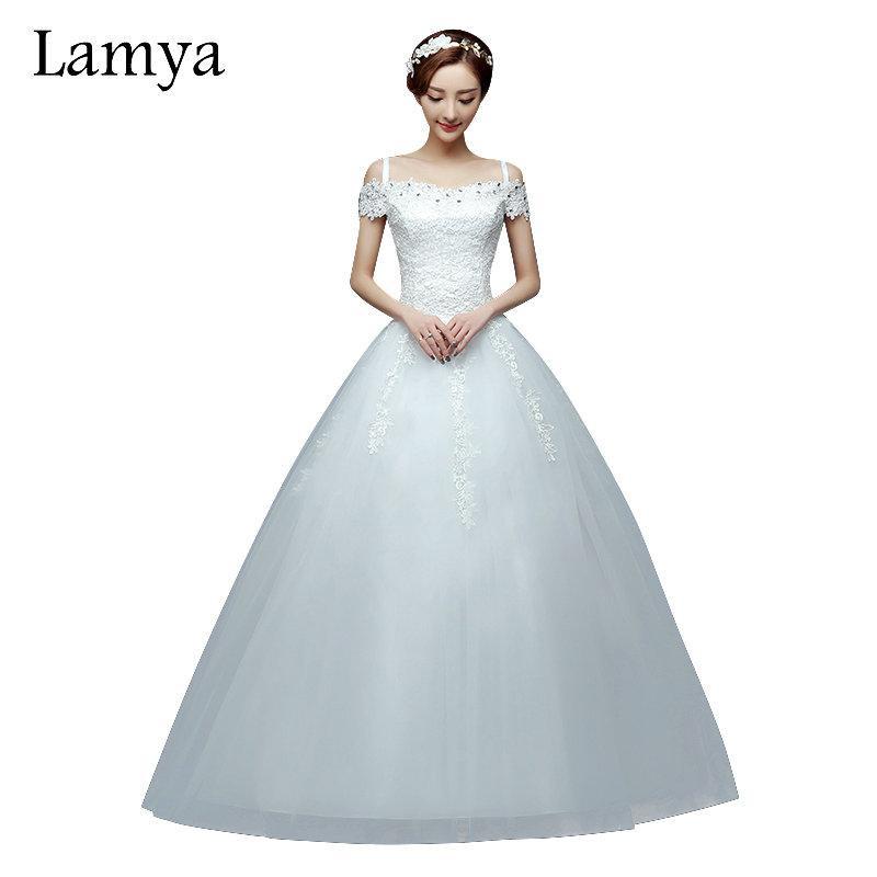 Gaun Pengantin Muslimah Simple New wholesale 2019 Cheap Short Lace Sleeve Plus Size Boat Neck Wedding Dress Princess Fashin Dresses Robe De Mariage