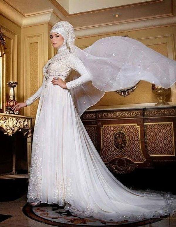 Ide Gaun Pengantin Kebaya Muslim Tqd3 Baju Kebaya Pengantin Muslim Warna Putih