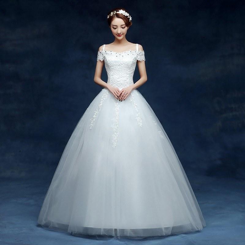 Ide Gaun Pengantin Muslimah Big Size Bqdd wholesale 2019 Cheap Short Lace Sleeve Plus Size Boat Neck Wedding Dress Princess Fashin Dresses Robe De Mariage
