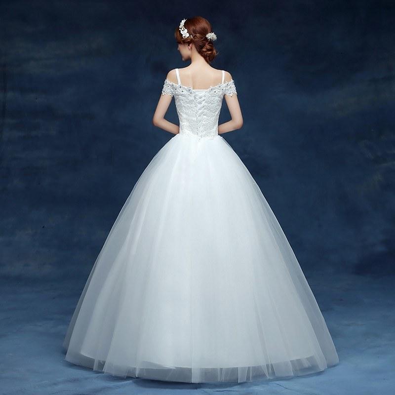 Ide Gaun Pengantin Muslimah Big Size Fmdf wholesale 2019 Cheap Short Lace Sleeve Plus Size Boat Neck Wedding Dress Princess Fashin Dresses Robe De Mariage