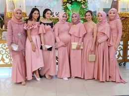 Inspirasi Baju Pengantin Muslimah Modern 2017 Ipdd 2019 Muslim Bridesmaid Dresses Series Hijab islamic Dubai Prom Party Gowns Plus Size Garden Country Maid Honor Wedding Guest Dress