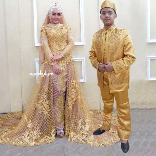 Inspirasi Gaun Pengantin Adat Jawa Muslim S1du Promo toko nor Wa 0814 1358 8247 Mewah Murah Kebaya Pernikahan Gold Emas Payet Frenchlace