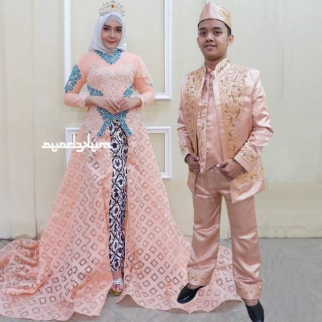 Model Baju Pengantin Muslim Adat Jawa Zwd9 Kebaya Couple Ekor Mata Dewa Baju Pengantin Free Rok Selop 2 Pasang