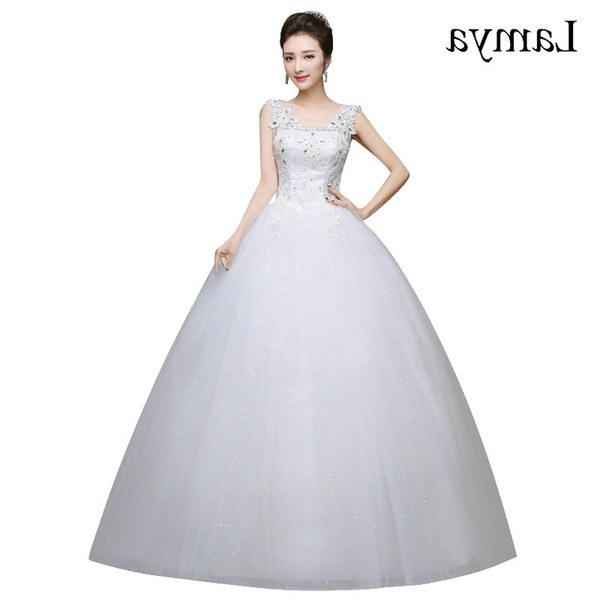 Model Gaun Muslimah Pengantin 3id6 wholesale Romantic Y V Neck Lace Wedding Dresses 2019 Elegant Princess Bride Gown Dresses Lace Up Vestido De Noiva Princess Gown Wedding Dresses