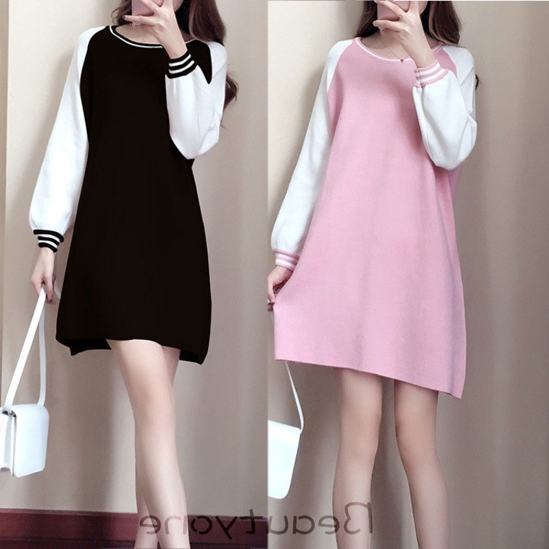 Model Gaun Pengantin Muslimah Pink Wddj Women Loose solid Color A Line Long Sleeves Slim Fit Party Dress