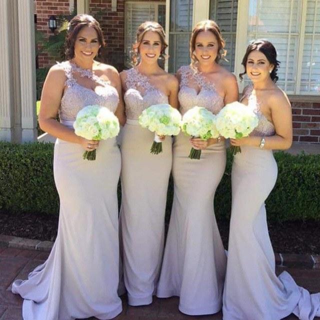 Model Gaun Pengiring Pengantin Muslim Budm Us $103 75 Off Y Satu Bahu Mermaid Bridesmaid Dresses 2018 Glamorous Appliques Sederhana Lantai Panjang Gaun Pesta Robe De soiree Prom Dress Di