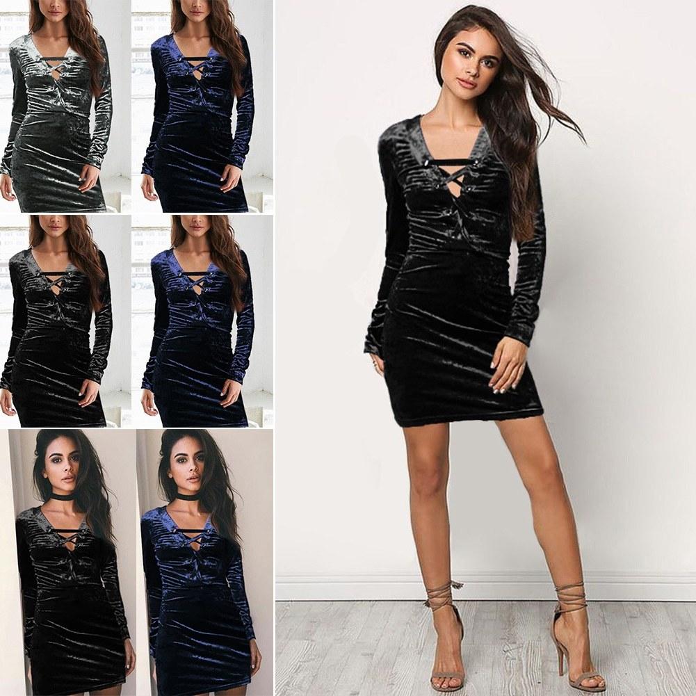 Model Gaun Pengiring Pengantin Muslim Thdr Women V Neck Front Lace Up Velvet Bandage Long Sleeve Y