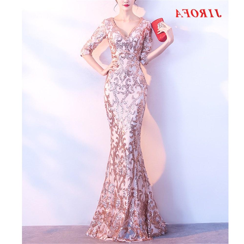 Model Gaun Pengiring Pengantin Muslim Tqd3 2019 New Y Sequins Women Fashion Runway Celebrity evening