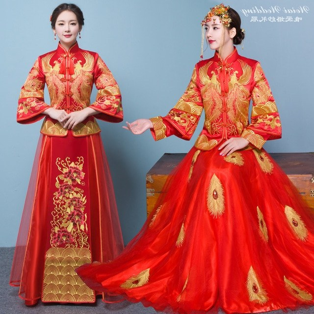 Model Gaun Pengiring Pengantin Muslim Y7du Us $87 72 Off Rommantic Pakaian Acara Malam Gaun Pengantin A Cina Pakaian formal Merah Naga Gaun Jubah Kimono La Jubah De Mariage De A