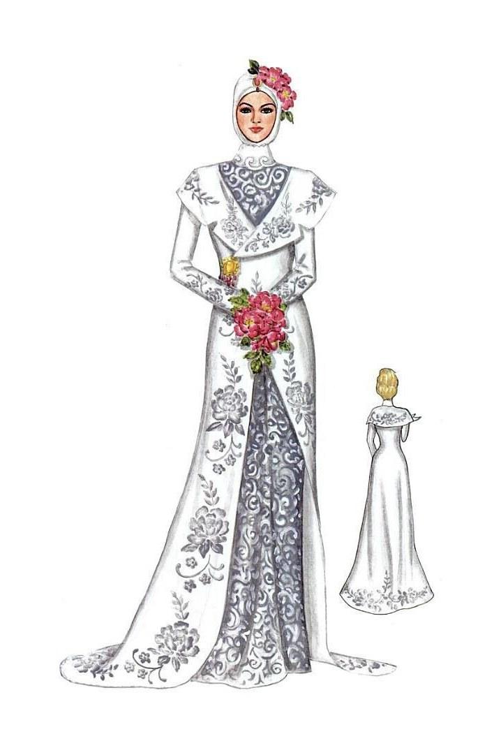 Model Sketsa Gaun Pengantin Muslimah E9dx Kebaya Dan Gaun Pengantin Muslim