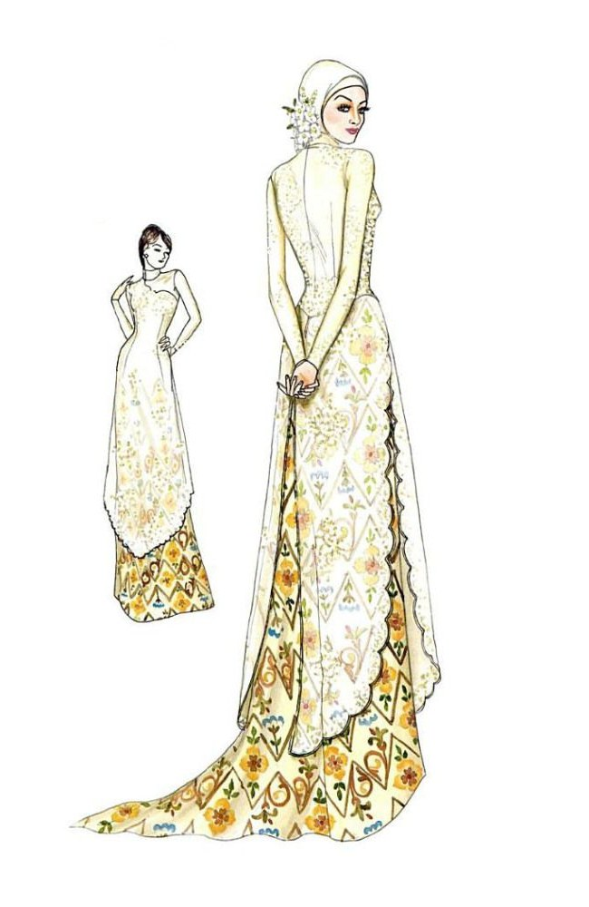 Model Sketsa Gaun Pengantin Muslimah Mndw 58 Best แบบเสื้อ Images
