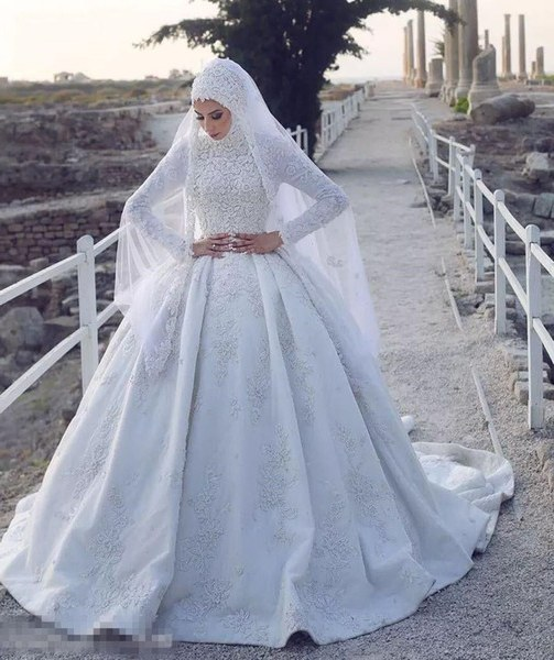 Bentuk Bridesmaid Dress Hijab Fmdf Discount 2018 Gorgeous Lace Appliqued Muslim Ball Gown Wedding Dresses White Beaded High Neck Plus Size Puffy Bridal Dress with Long Sleeves Wedding