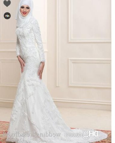 Bentuk Bridesmaid Dress Hijab Tldn Lace Sequins Mermaid Arabic Wedding Dress with Hijab