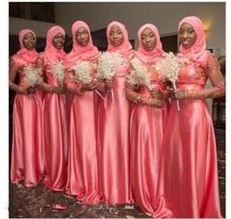 Bentuk Bridesmaid Hijab Pink Zwdg Coral Muslim Wedding Bridesmaid Dresses Sheer Long Sleeve Lace Appliques Vintage Maid Of Honor Gowns Beads Hijab Cheap Wedding Guest Dress