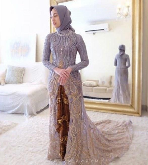 Bentuk Gamis Pernikahan Modern E9dx 100 Model Gamis Batik Kombinasi Brokat Terbaru 2019 Modern