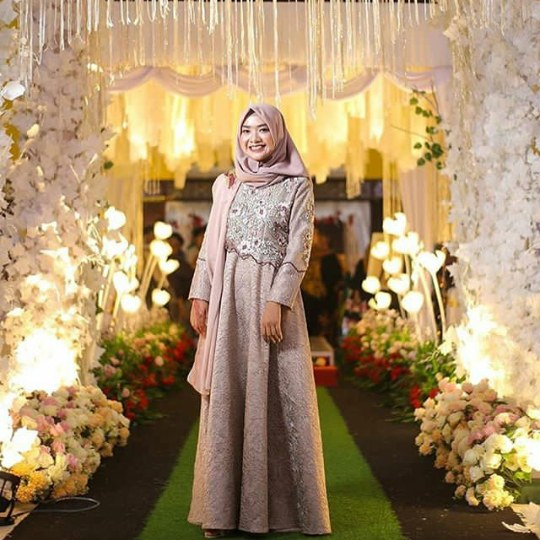 Bentuk Gamis Pernikahan Modern S1du Model Baju Gamis Pesta Pernikahan Modern Terbaru 2019