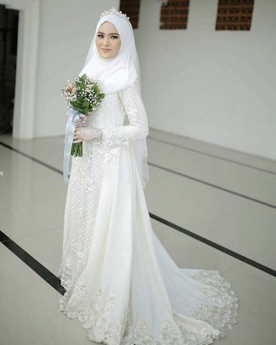 Bentuk Gamis Pernikahan Muslimah Mndw 30 Model Gamis Pengantin Brokat Fashion Modern Dan