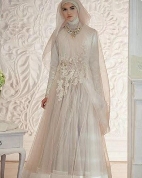 Bentuk Gamis Pernikahan Muslimah Zwdg 30 Model Gamis Pengantin Brokat Fashion Modern Dan