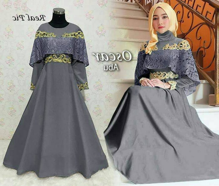 Bentuk Model Baju Gamis Untuk Pesta Pernikahan Ffdn Baju Gamis Pesta Brokat Bordir Modern Oscar Abu