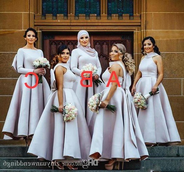 Bentuk Model Bridesmaid Hijab Mndw Arabic Muslim Long Sleeves Hijab Bridesmaid Dresses Satin with Bow A Line V Neckline Hijab Wedding Guest Dresses Bridesmaid Dresses Beach Wedding