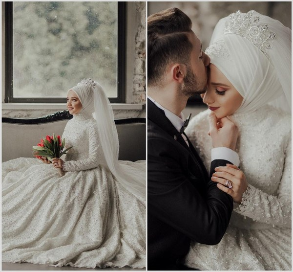 Design Bridesmaid Dresses Hijab Mndw Discount Luxury Muslim Wedding Dresses with Hijab Long Sleeve Beads Lace Plus Size Saudi Arabic Bridal Gowns Chapel Robe De Mariée Dresses for A