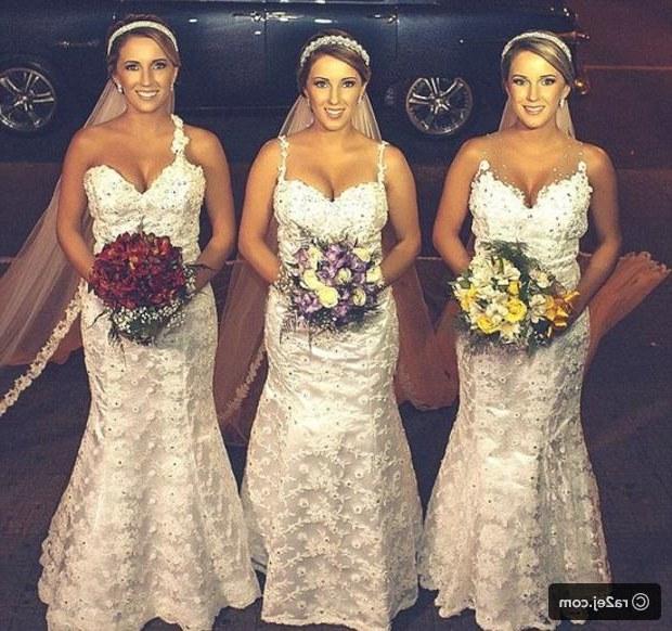 """Design Dress Hijab Bridesmaid Mndw صور زواج Ø Ù""""Ø§Ø Ø© توائم متطابقة في يوم واحد تترك العرسان في"""
