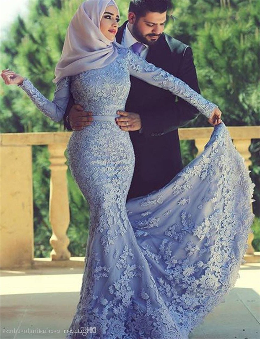Design Model Dress Bridesmaid Hijab Irdz Saidmhamad Saudi Arabia Lace Applique Muslim Mermaid with Hijab Prom Dress Long Sleeves Purple Eveing Gown 80s Prom Dresses Aqua Prom Dresses From