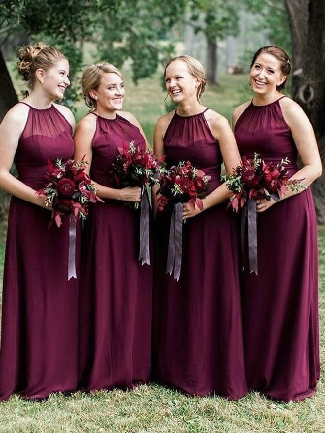 Design Model Dress Bridesmaid Hijab Kvdd Plus Size Burgundy Long Bridesmaid Dresses with Halter Neck