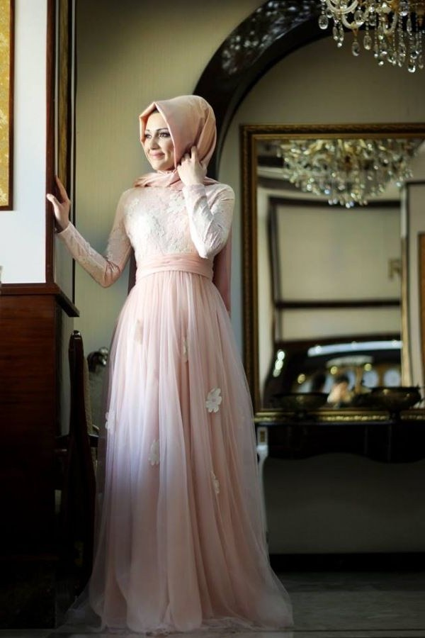 Design Model Dress Bridesmaid Hijab Nkde Papatya Tül Abiye Elbise somon