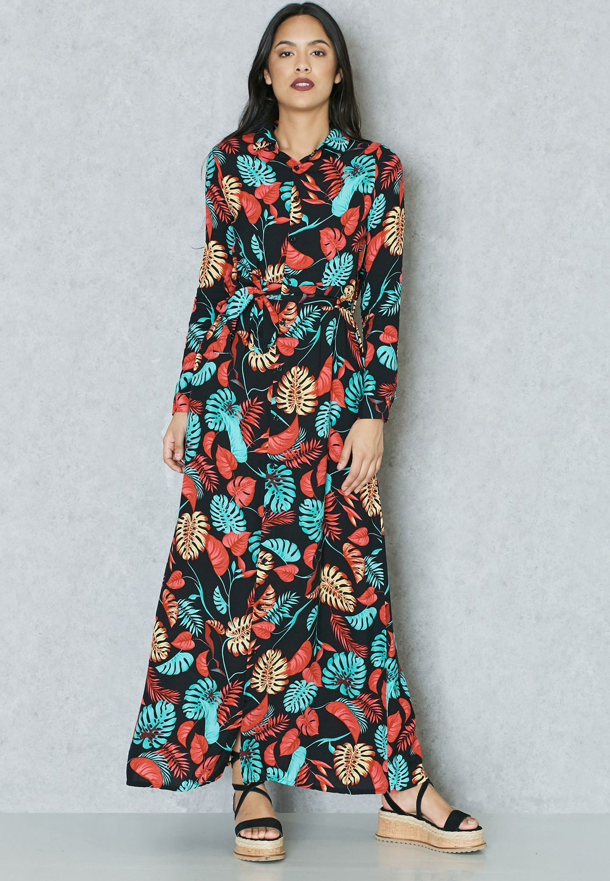 Design Model Dress Bridesmaid Hijab Thdr Floral Print Self Tie Shirt Maxi Dress
