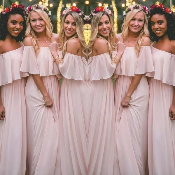 Design Ootd Bridesmaid Hijab T8dj Latest Blush Pink Bohemian Style Bridesmaid Dresses Y Ruched F Shoulder Chiffon Long Prom Dresses Cheap Pretty Party Dress for Weddings