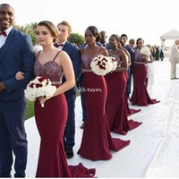 Design Ootd Bridesmaid Hijab Y7du Burgundy Long Bridesmaid Dresses Spaghetti Lace Beading Belt 2020 Bohemia Party formal Wear Mermaid Maid Of Honor Party Gowns