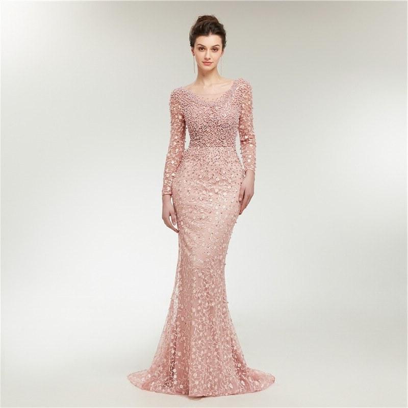 Ide Bridesmaid Hijab Styles 9fdy طويلة الأكمام فساتين السهرة الوهم الرقبة الأزياء الديكور