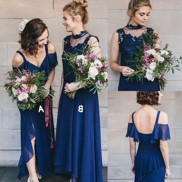 Ide Bridesmaid Hijab Styles Mndw Two Different Style Long Bridesmaid Dresses Bohemian Cheap Chiffon Y Straps Slit Side Beach Boho Maid Honor Gowns Junior Prom Dress formal Gowns